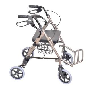 Podpórka czterokołowa aluminiowa z podparciem na nogi dla osób niepełnosprawnych